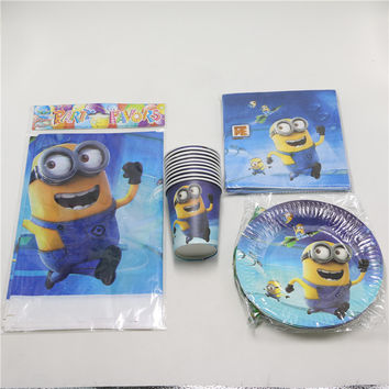 Despicable Me Minions 37pcs/lot Paper Plate Cup Tablecloth Napkins Kids Event & Birthday Party Supplies For 8 Guest