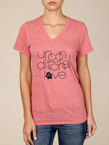 Unconditional Love Animal Rescue Unisex V-Neck Tshirt in Eco Red