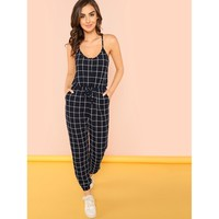 Slant Pocket Knot Plaid Cami Jumpsuit