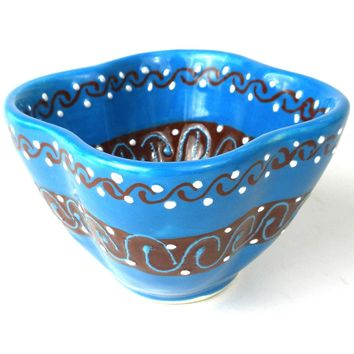Dip Bowl - Azure Blue Mexican Pottery