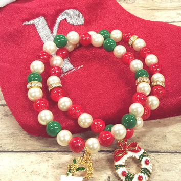 Christmas Beaded Bracelet, Santa Charm Bracelet, Stocking Stuffer,Stretch, Handmade, Custom, Beaded Jewelry, Women's Jewelry