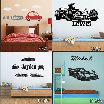 Personized Race Car Wall Stickers Home Decor DIY Poster Decals Kids Room Nursery Mural Vinyl Customized Name Tractor Car for Boy