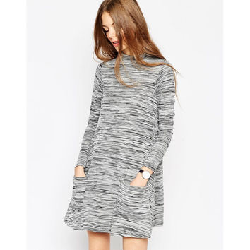 Grey Heather Double Pocket Long Sleeve A-Line Dress