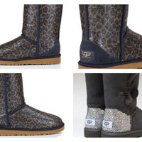 Custom UGG Boots made with Swarovski Classic Short Leopard Free: Shipping, Repair Kit, Cleaning Kit, Crystal Color, 48 hr Turnaround