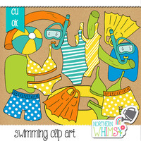 Summer Clip Art - Pool / swimming themed illustrations - bathing suits, bikinis, swim trunks, snorkels, flippers & pool toys- commercial use