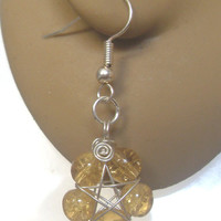 Handmade Silver Plated Orange Crackle Glass Wire Wrapped Pentagram Earrings. Pentacle Earrings, Wiccan Jewelry, Pagan Symbol