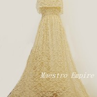 Ethereal Vintage Hippie Lace Romantic Long Maxi White Almond Dress