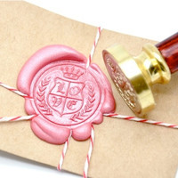 Love Wreath Crest with Crown Gold Plated Wax Seal Stamp x 1