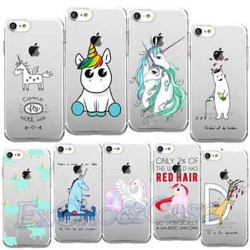New Arrival Cute Lovely Colorful Unicorn Horse Deer Rainbow Phone Cases For iphone 5 5s SE 6 6s 7 Plus Soft TPU Silicon Shells