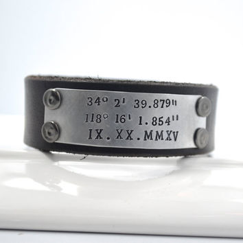 Men's Leather Cuff Bracelet Coordinates Dates