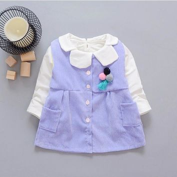 0-2-year-old female baby fashion new cotton long-sleeved T-shirt and corduroy vest 2 PCS / set + free gift