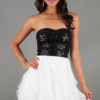 Short Strapless Sequin Prom Dress by Bee Darlin