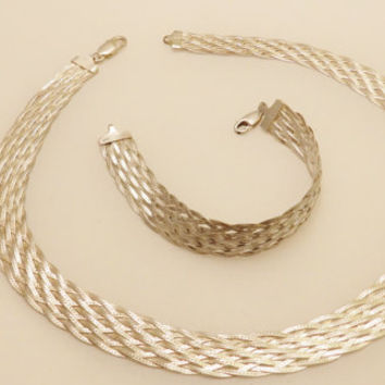 Sterling Silver Thick Woven Necklace and Bracelet Jewelry Set