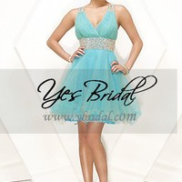 A-line V-halter Knee-Length Chiffon With Beading Cocktail Prom Dress SAL0278
