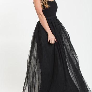 Anabelle Black Full Tulle Maxi Skirt