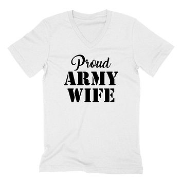 Proud army wife, gift for wife, army wife, workout V Neck T Shirt