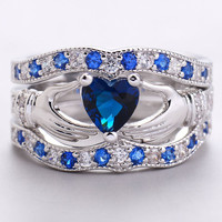 3Pc/Set Women Lady Claddagh Ring Blue Sapphire Silver Plated Wedding Ring Nice Jewelry Size 6/7/8/9