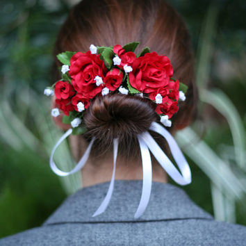 Red Roses Flower Bun Wrap, Bohemian Headpiece, Floral Headpiece Wedding