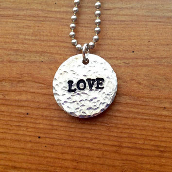 LOVE Necklace  Hand Stamped Textured Aluminum by KennabelleDesigns