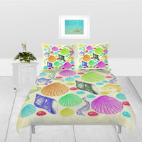 Duvet Cover - 4 different sizes, Without Insert, Bedroom, Home decor, Nautical, Beach, Boho, Hippie, With, Without, Shams, Sea, Shells