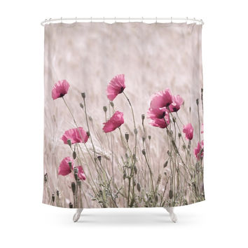 Society6 Poppy Pastell Pink Shower Curtains
