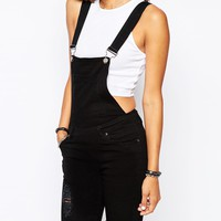 Liquor & Poker Skinny Fit Dungarees With All Over Rips & Distressing
