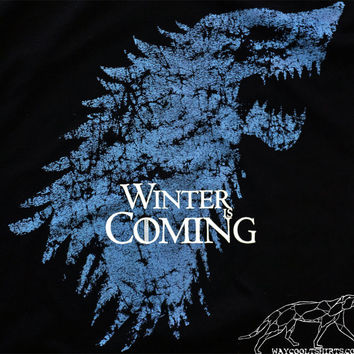 Game of Thrones Shirt Stark Winter Is Coming Mourning of the Destruction of Winterfell Unisex Man & Woman's Black Ringspun Cotton Tee