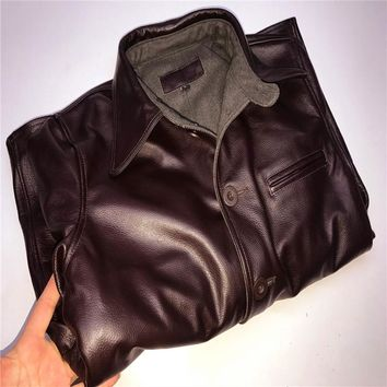 genuine cow skin leather jacket mens vintage casual biker cowhide leather jacket
