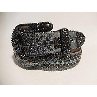 "B.B. Simon ""Ocean Blue"" Swarovski Crystal Belt"