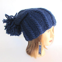 Slouchy beanie hat navy  blue slouch hat chunky knit slouchy hat Irish knit accessory for women with large pompom fun hat wool christmas
