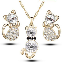 little cat jewelry set Fashion classic atmosphere for girls.