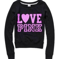 Victoria's Secret PINK crew sweatshirt black  NEW!!
