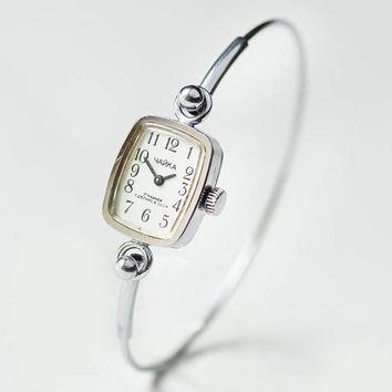 Tiny womens watch bracelet cocktail watch Seagull, rectangular girl watch bracelet, women's watch petite silver tone, delicate watch gift