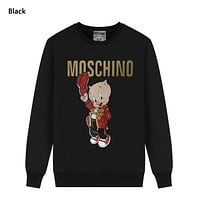 Moschino New fashion letter pig print couple long sleeve top sweater Black