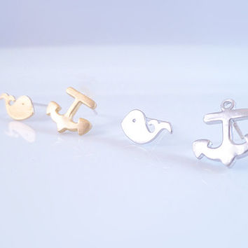 Whale Anchor Earrings - Tiny sweet mismatched whimsical pair of nautical studs in MATTE SILVER or GOLD finish - .925 sterling silver posts