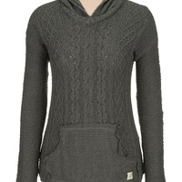 Silver Jeans ® Long Sleeve Knit Sweater With Hood - Charcoal