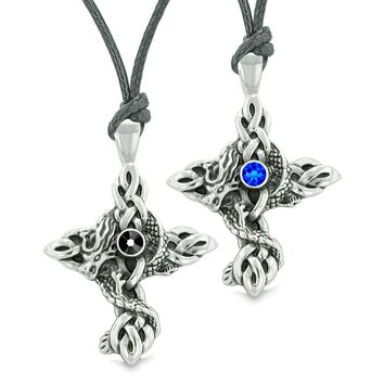 Fire Dragon Celtic Knots Protection Cross Amulets Love Couples or Best Friends Blue Black Necklaces