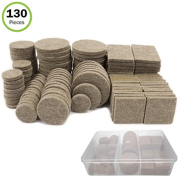 Evelots Furniture Felt Pads-Self Stick-5 Sizes-Resistant-Storage Case-130 Pieces