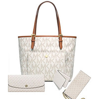Michael Kors Women's New Fashion Travel Medium Logo Tote+Juliana Large Wallet White