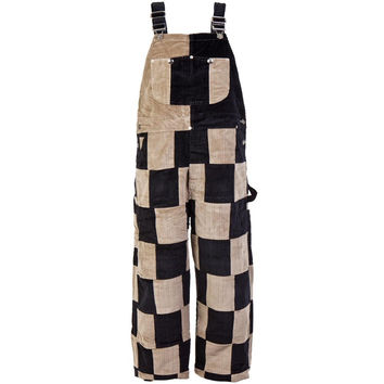 Black & Tan Patchwork Overalls