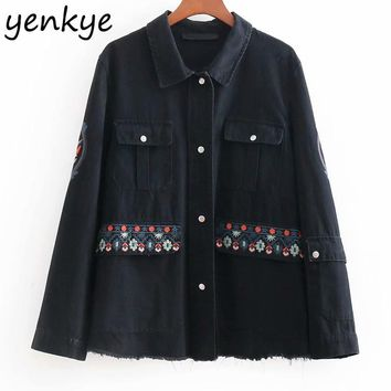 Trendy Women Floral Embroidery Denim Jacket Lady  Long Sleeve Single-breasted Vintage Black Autumn Jacket Plus Size Coats BBWM8335 AT_94_13