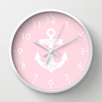 Love Hope Anchor Pretty Pink Wall Clock by BeautifulHomes | Society6