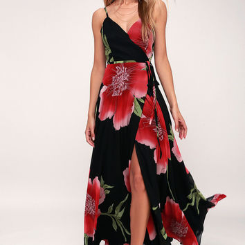 Blossoming Belle Black Floral Print Maxi Wrap Dress