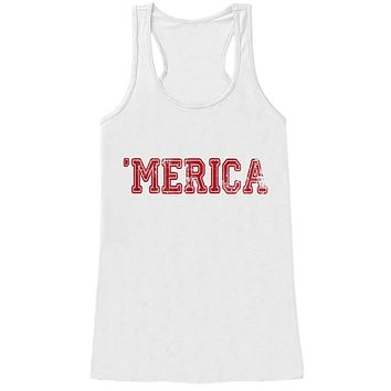 Merica Tank Top - 'Merica Fourth of July Tank - Women's 4th of July Tank Top - White Tank - Fourth of July - American Pride - Red Merica