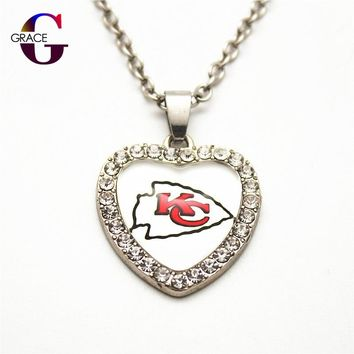 1pcs Fashion Kansas City Chiefs Football Sports Charms Heart Crystal Necklace Pendant With 50cm Chains For Women Men Diy Jewelry