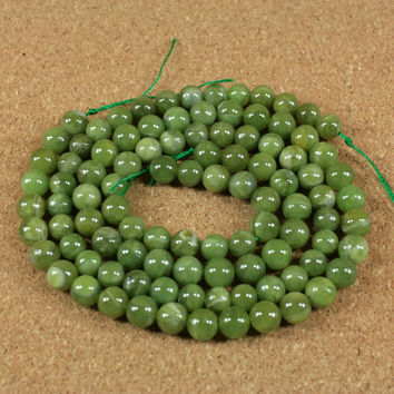 Green Calcite Round Beads - Light Olive Green Smooth Opaque Beads - 8mm - 16 inch strand
