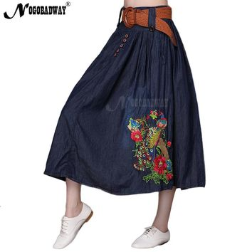 2018 autumn high waist denim skirt women long skirt maxi pleated flower embroidered jeans skirts ladies vintage casual saias 5XL
