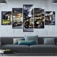Canvas Poster Wall Art Printed 5 Pieces Antique Hot Rod Vintage Car Paintings Landscape Pictures Modular Living Room Decor Frame
