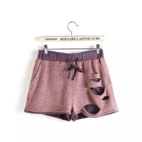 Summer Stylish Ripped Holes Casual High Rise Pants Cotton Linen Shorts [4917776004]