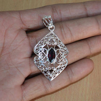 Red Garnet Pendant/Necklace,Solitaire Pendant Sterling Silver with Red Garnet Stone Sterling Silver Pendant faceted Gemstone Garnet Pendants